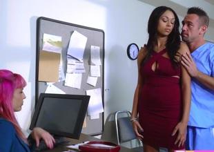 Hawt ebony Wild Bethany Benz fucked hard on the desk
