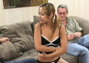 Perky little Kat gets too good of an offer and bonks two old dudes for cash