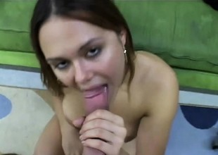 Genteel doxy with miniature natural tits gets finger in puss and dick in mouth
