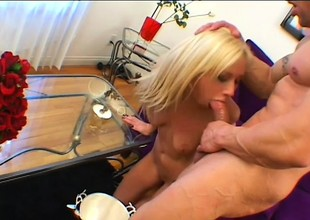 Trashy blonde Hillary Scott blows a shaft and gets drilled in the ass