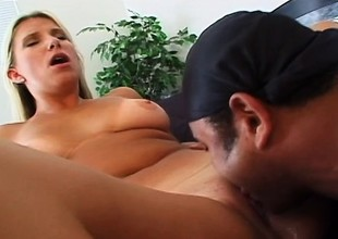 Blonde tart gives her delicious ass up to her lover for some rough slamming