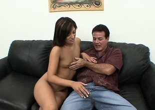 Audrianna Angel caresses and copulates terrific guilty gun of her guy