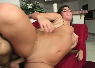 Brunette knob gobbler does it and then sits on his pecker for a good fuck