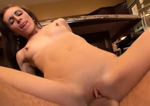 Sexy slim brunette Katie Marie gets fucked good and deep in the kitchen