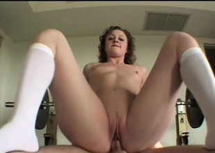 Curly haired Hope wants this thick schlong to punish her tight snatch