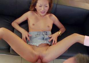 Skinny asian kitty Alina Li gets her tight hairless pussy used by horny insatiable guy Keiran Lee. Flat chested hottie gets her slut tongue fucked before she takes his meat pole. That babe gets her shaved oriental pussy fucked so hard that she squirts!