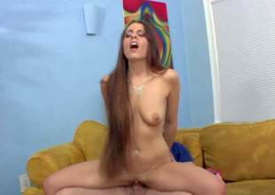 Tight ass teen slut with very long hair and natural hanging tits gets naked for filthy step daddy Kyle Stone and gets his entire cock up shaved twat with piercing