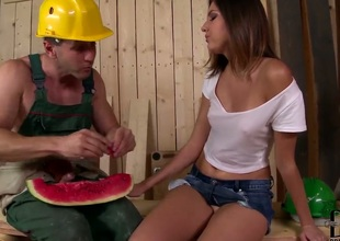 Agness is a wonderful beauty and she brings her construction worker a watermelon to enjoy. He would rather have her mouth and her snatch and she is more than willing to provide them for him.