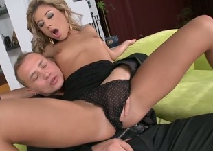 Ioana is a smoking hot young blonde and she's getting her face stuffed with cock right here. She then spreads her long perfect legs and gives her man something to munch on.