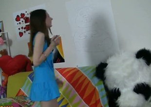 Crazy hot scene with tight and nubile teen Nicki getting busy with her huge toy panda who happens to sport a serious strapon that it loves using on young chicks.