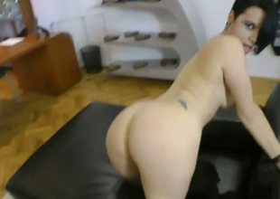 This curvy temptress knows how to get a guy hard. Watch her crawl across the room, doing a fine job of displaying her rump all the while, doing sexy growls and grunts. Hot.