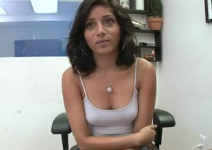Today we have a really cool chick in our studio. Her name is Maya Bazin and she wants to become a famous pornstar. However, she needs to show us how she strips and masturbates