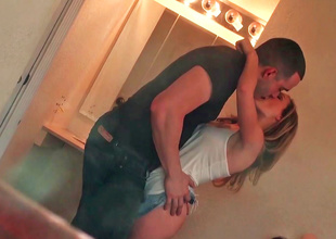 Lovely girl is filmed by her voyeur boyfriend while changing