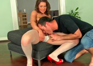 Cute Euro slut in stockings gets fucked so hard