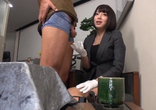 Petite japanese office beauty shows her perfect banging skills