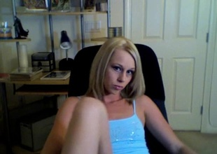 Randy slut in miniskirt shows off her cunt and a-hole on webcam