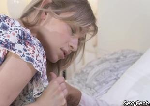 Pierced pussy teen fucks in her bed