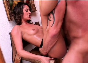Slim brunette plays with sex toys before getting fucked by a big cock