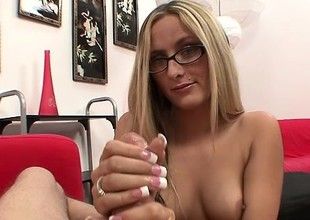 Nerdy newbie Page Adams is perfection when her hands get to work on his wanker