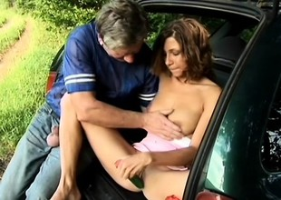 Smoking hot brunette gets eaten out and fucked by an older man