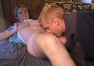 Luscious blonde college babe Holie Stevens has her boyfriend fucking her juicy cunt