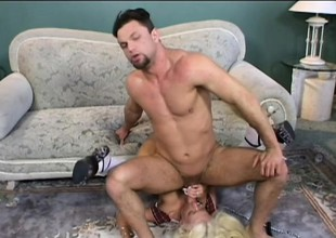 Stacked blonde in white stockings gets pounded hard by two hung guys