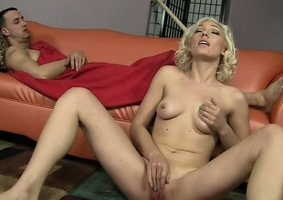 Beautiful babe with natural tits Lily La Beau is boffed by her well-hung partner