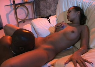 Two gorgeous black babes get their pussies stuffed in a wild fuckfest