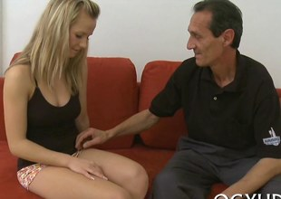 Sweet Russian blonde licked by a ugly old man