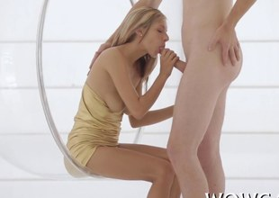 blonde bitch has as fat schlong she sucks on hard