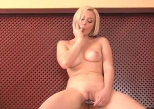 Naughty blonde Mila fucks anything she can slide inside her pussy