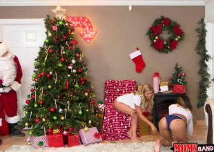 Hot best friends have a hot threesome with Santa next to the tree