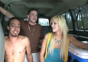 Hi, horny boys and sexy girls, this day we bring your amazing blonde chick Tara Lee in our bus. This babe wants to get a dick in her pussy and mouth, this is evident in her every movement!