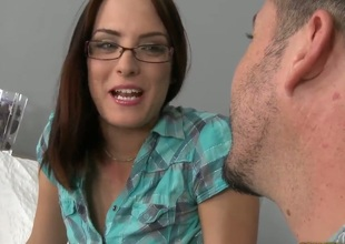 James Brossman knows that you need to ease the babe into fucking. This babe is called Lyen Parker and she is the hottest nerdy girl you will ever see. Just see her getting licked clean.