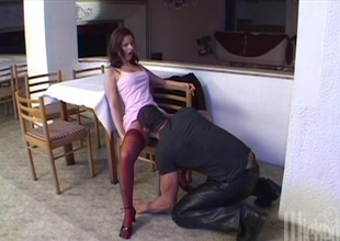 Anal slut in high heels gets a mouthful of cum after BJ and hardcore fucking