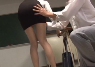 Lustful Asian teachers banging hardcore in the classroom