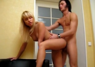 Licking a blonde teen muff and pounding it hard