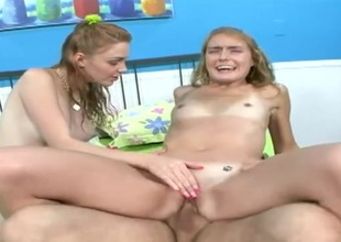 Teenagers with sexy tits ride a boner together