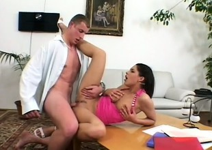Hot brunette schoolgirl takes a break from studying and gets fucked hard