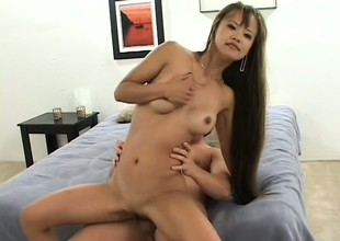 Little Mia Smiles chokes down two dicks and gets split roasted in a threesome