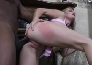 Billy is a poolboy who shows this bored rich girl his big black cock
