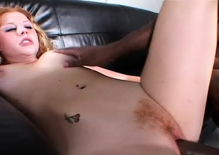 Natural redheaded amateur gets banged in her milky white pussy by creamy dark chocolate