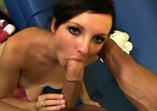 Dirty stepdaughter blows and fucks her stepfather and then licks his ass
