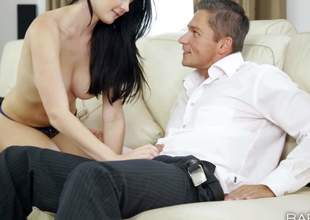 Lucy Li is a black haired beautiful European girl. Topless kitty with sexy natural billibongs puts her beautiful lips on guys plump cock. She takes off her panties and gets her tight pussy used after blowjob