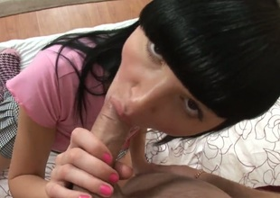 Angelic wench Brie is so wet and so horny that fucks like a sex crazed animal