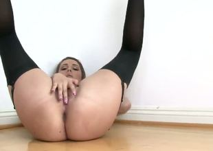 This slutty curve wears stockings-pantyhose and she has wonderful shaved pussy! Her amazing body makes my penis erected and ready for hard penetrations! Enjoy this pretty scene.