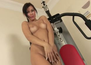 Super sexy and slinky Alyssia shows us her masturbation style in the gym as she pleasures her shaved pussy and lets you roam all over her petite, pert body as she gets a full work out.