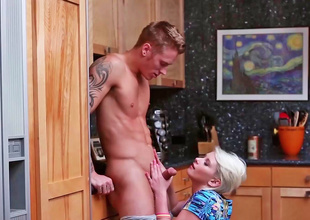 Dani Desire is having a hot scene in the kitchen