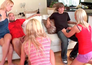 Sexy sluts Victoria, Ally and Jamey entice a bunch of guys