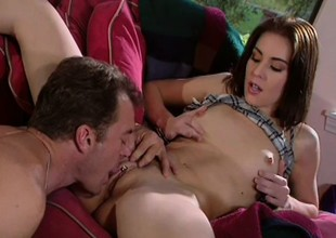 Tight-bodied April gets drilled by a ripped guy's huge piston